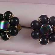 1940's~ Watermelon Stone;Black and Gold Plate Beads Clip Earrings Signed JAPAN