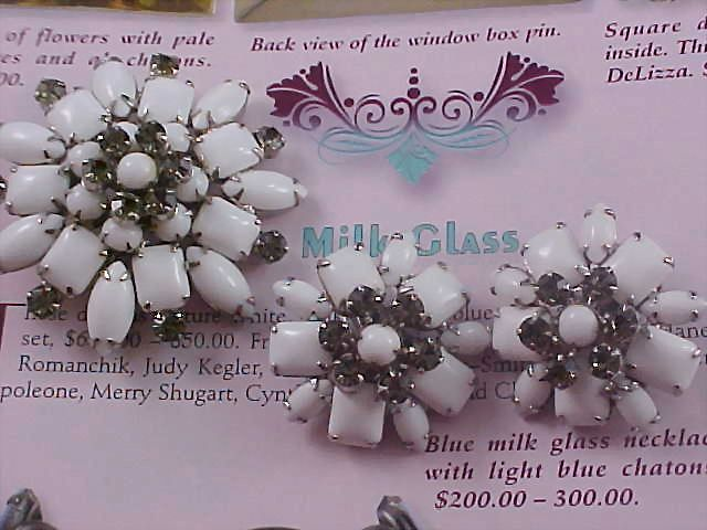 Free Ship~Milk Glass Smoky Rhinestone Demi Parure - Brooch & Earrings