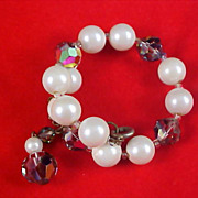 Fabulous Simulated Pearls & WATERMELON CRYSTALS Wrap Bracelet w/Safety Chain