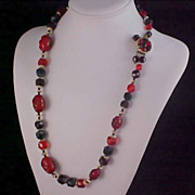 Fabulous - WEST GERMANY Bright Reds of Celluloid & Gilt Gold Ornate Clasp NECKLACE