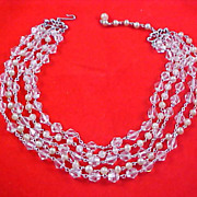 QUEENS Special~1930's ART DECO - Genuine Crystal - Simulated Pearl & Moonstone 5 Strand Necklace