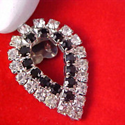 ART DECO - Diamante & Jet Rhinestones - Pear Shape Old Purse or Shoe Clip