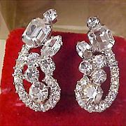 D&E JULIANA  Sparkling  Diamante  Silver Rhodium Plate Clip Earrings