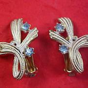 Art Deco Gold Plate & White Metal - Blue Topaz Rhinestone Clip Earrings