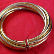 RETRO - Twisted LOVE KNOT Bangle in Two Shades of Yellow Gold Plate