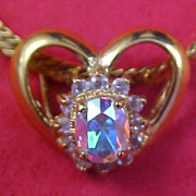 14KT Gold F LIND  ~  CRYSTAL Heart Slide ~  Herringbone Chain Necklace