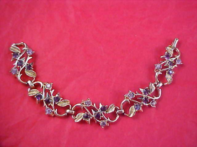 1950-1960 Old CORO ~ Lavender & Purple Rhinestones Gold Plate Link Bracelet