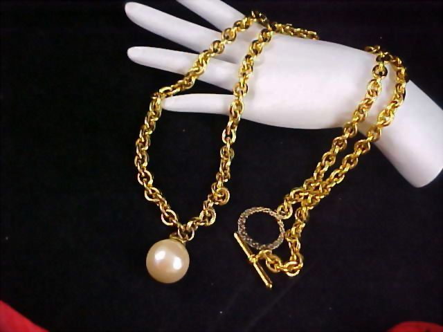 Massive Swivel SIMULATED GLASS PEARL - Gold Plate Very Long Necklace