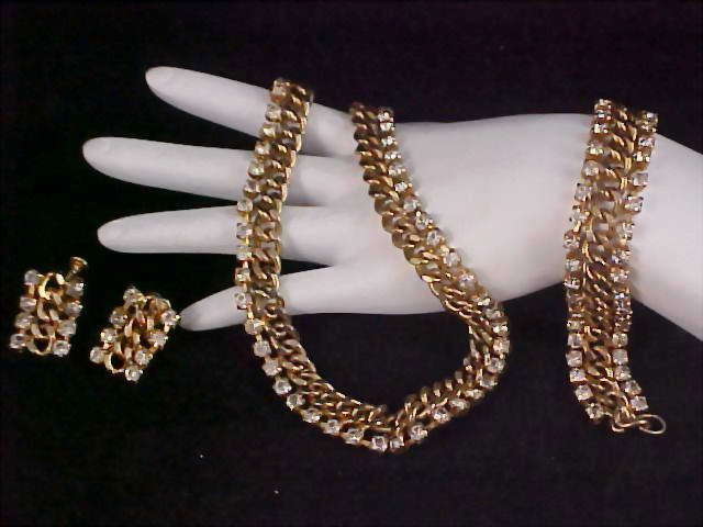 Free Ship~Diamante Chaton & Gold Plated ARTICULATED FULL PARURE - Necklace/Choker/Bracelet/ & Earrings