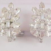 SPECTACULAR - Art Deco Baguette & Marquis Diamante Clip Earrings