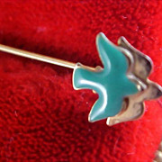 CHARMING ~ On The Wings of A Dove - Aqua Enamel STICK Pin