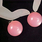 Striking Pink Dome Button MOONGLOW Clip Earrings