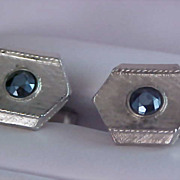 ART DECO Blue Faceted Rhinestone Silver Plate Cuff Links