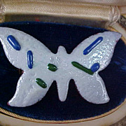 ABSTRACT ~ White & Cobalt Thick Enamel over Copper BUTTERFLY Brooch/Pin