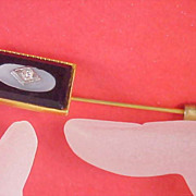 Electrifying Pristine ONYX - DIAMANTE - MOTHER - of- PEARL  Gold Plate Rectangular 1940's Stick Pin