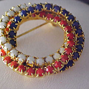 Free Ship ~ RED~WHITE~BLUE Milk Glass Circular 3 Row Chaton Brooch