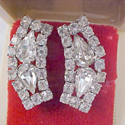 Reduced ~ DeLizza & Elster Swarovski  Pear Cut  Crystal  - Chatons & Silver Rhodium Plate  Clip Earrings