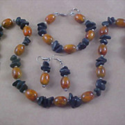HAND CRAFTED -Peach Art Glass & Dyed Howlite Nuggets -  3 Piece Full Parure - Necklace - Bracelet & French Wire Earrings