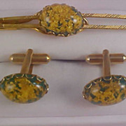 Gold Fluss Embedded over Green Lucite 1950's Tie Clasp & Cuff Links
