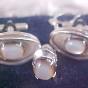 MOONSTONE Cuff Links & Tie Clasp - 1950's Set - Silver Plate