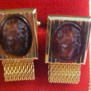 Intaglio HICKOK  CAMEO Men's Wrap Around  Cuff Link & Tie Tac Gold Plate Mesh Set