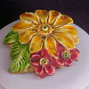 MADE in W. GERMANY ~ Colorful Lucite FLORAL Brooch/Pin - Enamels