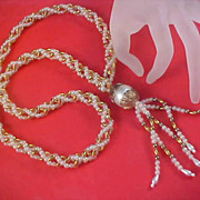 Pearlized Beads & Gold Tone Oval Beads Torsade Sautoir w/Long Tassel Necklace