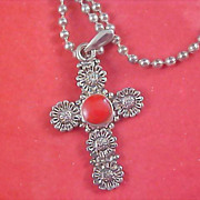 Antiqued Silver Plate CROSS with CARNELIAN Bezel Set Stone & Chain Necklace