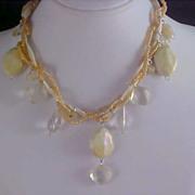 Torsade Lucite Crystal & Aurora Borealis Bead Necklace