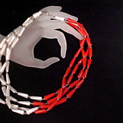 Red & White Elongated Lucite  & Crystal Spacer Beads - 4 Strand Necklace