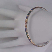 Free Ship ~ 50% Off ~ Blue & White Porcelain -14Kt Gold Plate  Accent & Enamel Bangle