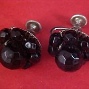 ART DECO - CORO - Dimensional Black Crystal 1930's Screw Back Earrings