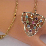 BLING Pastel Rhinestones Open Design Pendant  & Chain Necklace