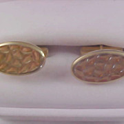 "Circa 1940-1950's Gold Plated ""Waffled Design"" Cuff Links"