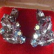 D & E JULIANA  Smoky Marquis Cut & Round Cut Aurora Borealis Silver Plate Clip Earrings