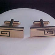 Gold Plate Cuff Links w/Black Engravings & Engravable