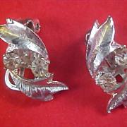 Art Deco - DIAMANTE - Silver Plate Open Workmanship Clip Earrings