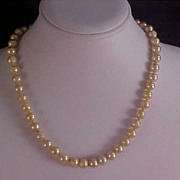 Old 1940's Hand-Knotted   Creamy Glass Pearls - 10mm - Necklace