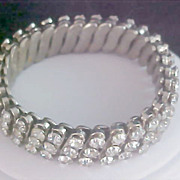 Three Row Diamante Expandable Bracelet