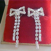 ART DECO Cubic Zirconia - Silver Plate Baguettes & Chatons BOW Dangle Articulated Post Earrings