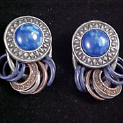 COBALT Swirled Glass Cabochons & PEWTER Dangle Rings Post Earrings