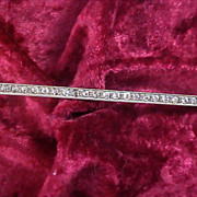 """1930's STERLING SILVER Cubic Zirconia  Bar Pin ~  Old """"C' Clasp - Ornate Setting"""