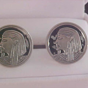 SWANK - EGYPTIAN Inspired - Silver Plate & Black Enamel Men's Cuff Links