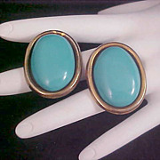 Simulated Turquoise Oval Post Earrings
