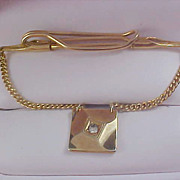 Diamante & Gold Plate  Pat.Pend Signed Dangle Tie Bar Clasp