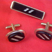 Black Onyx & Gold & Silver Plate 1950's Tie Clasp & Cuff Link Set