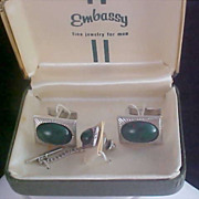 Simulated Australian Black Opal Tie Tac & Cuff Link Set by Embassy