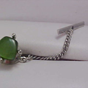 Simulated Jade Green & Silver Plate 1950's Tie Tac