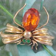 Orange CZECH Glass Gold Plate Signed CZECHO Green Rhinestone FLY (Bug) Brooch