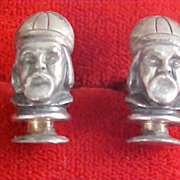 CHINAMAN Antiqued Silver Plate Cuff Links by SWANK